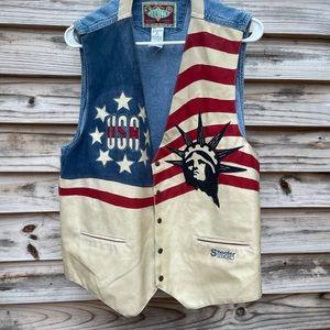 Vintage men's motorcycle patriotic vest